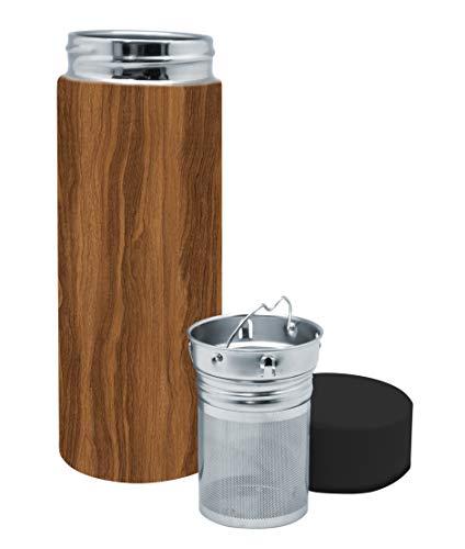 Nerthus Bottles Nerthus FIH 799 Té 300 ml Color Madera, Acero Inoxidable, Doble Pared, Botella Infusor, Termo, 0.30 litros