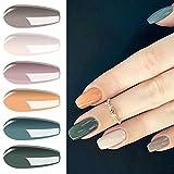 Vishine Gel Nail Polish Kit- Popular Nudes Olive Neutral 6 Colors,Warm Earthy Tones Nail Art Gel Polish Gel Manicure Set 8ml