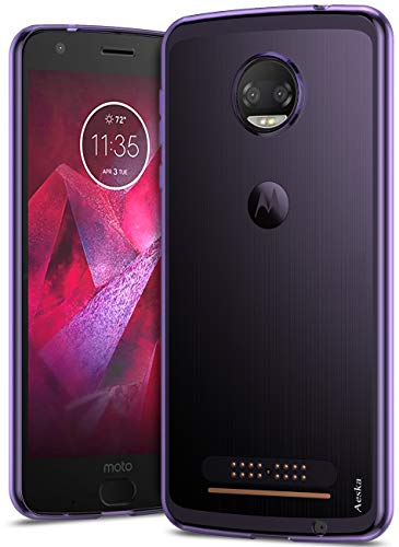 Aeska Moto Z2 Force Case, Ultra [Slim Thin] Flexible TPU Soft Skin Silicone Protective Case Cover for Motorola Moto Z2 Force Edition (Purple)