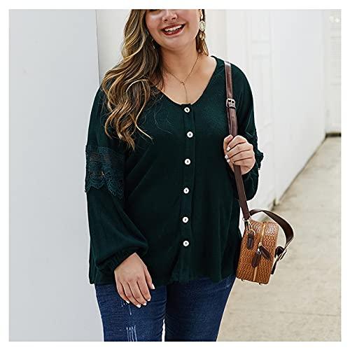 ZJML Cárdigan Punto Color Sólido para Mujer, Blusas con Botones De Manga Larga XL-4XL,Dark Green,XL