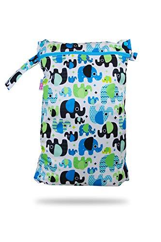 Petit Lulu wasserdicht doublesize Windeltasche | Wetbag Organiser Beutel | Windelsack | Nasstasche für Stoffwindeln | Nässeschutzbeutel | Waterproof Wet Bag | Wickeltasche (Baby Elefanten (blau))