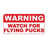Lplpol Warning Watch for Flying Pucks Metal Tin Sign Easy to Mount- Indoor or Outdoor Use, UV Protected and Fade-Resistant Decorative Sign 8x12 inches