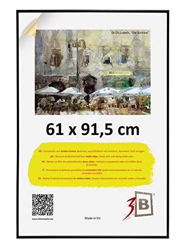 3-B Bilderrahmen Poster - Posterrahmen mit Polyesterglas und Schutzverpackung - Schwarz - 61x91,5 cm