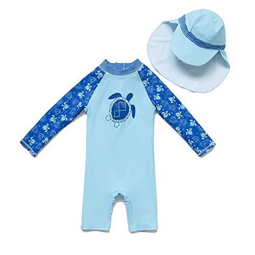 BONVERANO Baby Junge EIN stück Langärmelige-Kleidung UV-Schutz 50+ Badeanzug MIT Einem Reißverschluss(Blau-Die schildkröte,12-18M)
