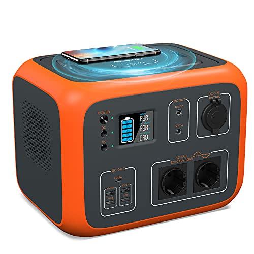 PowerOak Portable Power Generator 500Wh Solarkraftwerk Lithium-Batterie-Netzteil mit Europa-Stecker, kabellose Lade-LED-Taschenlampen für Campingreisen CPAP-Notfall, leise und kompakt (Orange)