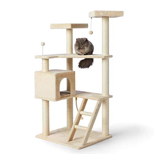 Amazon Basics - Albero per gatti XL a più livelli, con cuccia e scala, 80 x 180 x 73,6 cm, beige