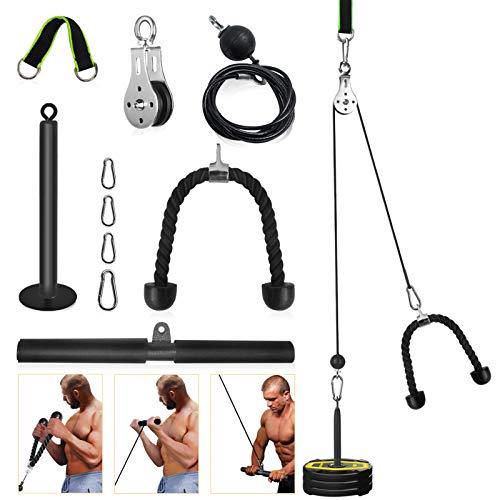 2,0 Metros Sistema de Polea para Gimnasio, DIY Accesorio de máquina con Cuerda de Tríceps y Barra de Pulldown, Fitness en Casa para Flexiones de Bíceps, Extensiones de Tríceps, Desarrollo Muscular