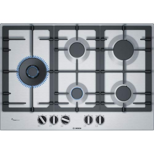 Bosch Serie 6 PCS7A5B90 hobs Acero inoxidable Integrado Encimera de gas - Placa (Acero inoxidable, Integrado, Encimera de gas, Acero inoxidable, 1000 W, Alrededor)