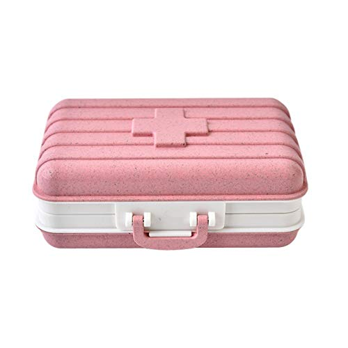 Bbl345dLlo - Pastillero portátil diario semanal, creativo, portátil, de viaje, pajita de trigo, 6 rejillas, caja de almacenamiento, color beige