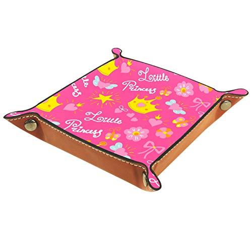 ZORE_FINE5 Bandejas cuadradas de cuero para joyas, juegos de dados con ruedas, bandeja para monedas, caja de almacenamiento plegable de 11,5 cm/4,5 en patrón de corona de princesa rosa