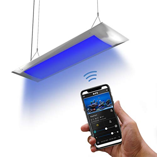 ONF Flat One Aquarium Hood Light 36 inch, Blue White LED, App Remote Controlled, Dimmable Full Spectrum for Plant Growth, for 40 to 48 gallons Saltwater Reef Freshwater Fish Tank