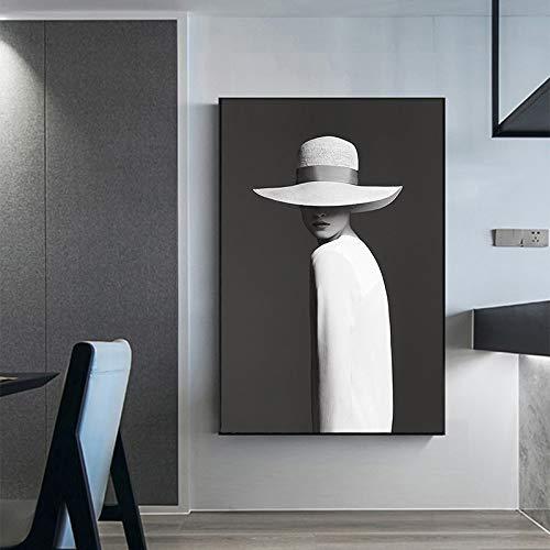 ganlanshu Wandmalerei Bild Leinwanddruck Charakter Malerei in Hut Hauptdekoration Wohnzimmer Schönheit Porträt,Rahmenlose Malerei-50X75cm