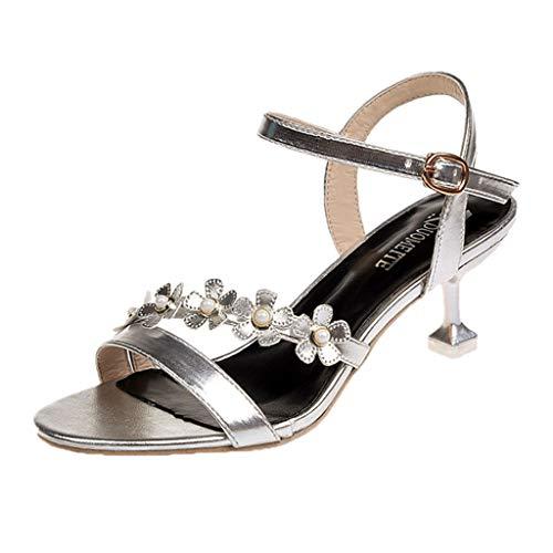 Women Fashion Solid Floral Thin Heels Casual Shoes Sandals Sandalen Zehentrenner Strass Flach Sandaletten Sommer Strand Schuhe
