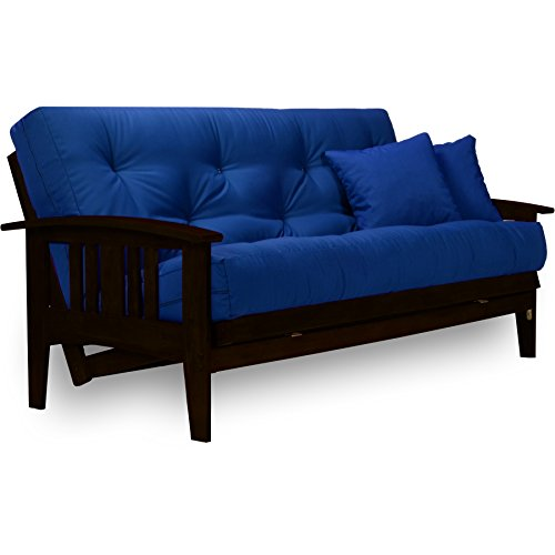 Westfield Complete Futon Set - Espresso Finish (Warm Black) - Full or Queen Size, Mission Style Wood Futon Frame with Mattress Included (Twill Royal Blue), More Mattress Colors Available