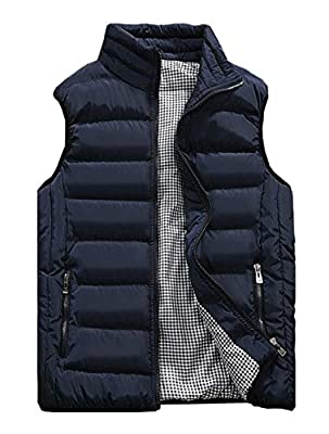 Vcansion Men's Outdoor Casual Stand Collar Padded Vest Lightweight Down Cotton Jacket Coat Vest Blue M