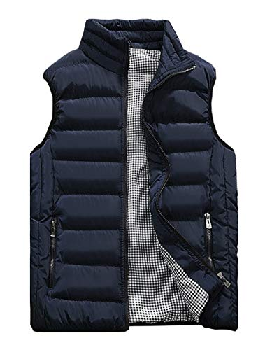 Vcansion Men's Outdoor Casual Stand Collar Padded Vest Lightweight Down Cotton Jacket Coat Vest Blue XL
