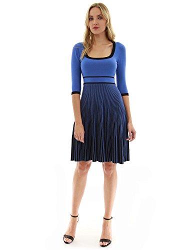 PattyBoutik Damen Strickkleid mit Rundhalsausschnitt und 3/4 Ärmeln (blau und schwarz XL 46)