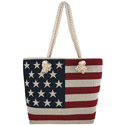WESTERN ORIGIN American Flag Embroidered Tote Bag Stars and Stripes Beach...