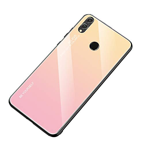 AIsoar Compatible with Huawei Honor 10 Colored Gradient Tempered Glass Case,Tempered Glass Back Cover + Soft TPU Bumper Frame Shockproof Anti-Scratch Protective Cover Shell (Pink + Yellow)
