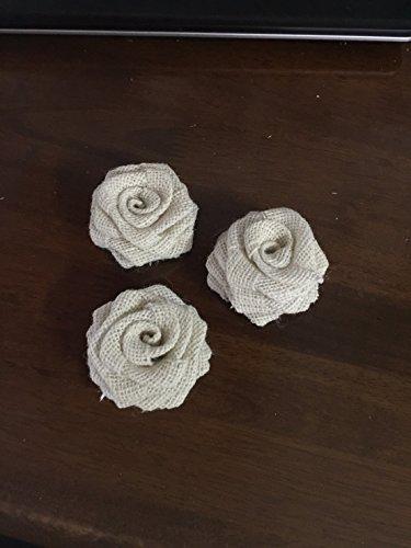 Ivory Burlap Rosette Burlap Roses Fabric Flowers 2.8 Rustic Wedding Flowers Wholesale flowers  Decorative Flowers