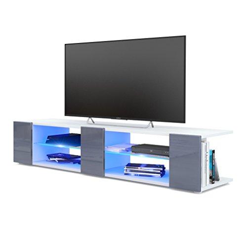 Vladon Meuble TV Armoire Basse Movie V2, Corps en Blanc Mat/Façades en Gris Haute Brillance avec l'éclairage LED en Bleu