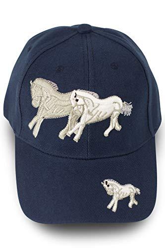 fashionchimp ® Snapback Baseballcap mit Pferde-Motiv, Reitersport-Mütze, Uni-Farben (Dunkelblau)