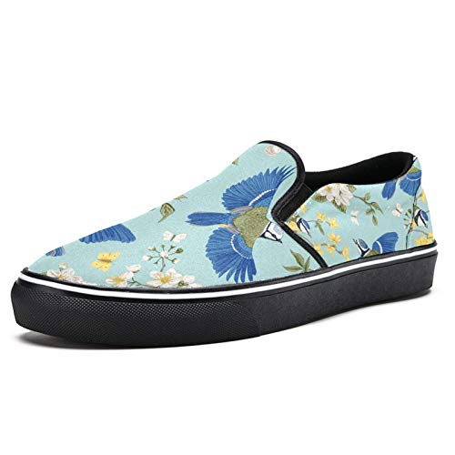 Zapatillas de deporte para mujer azul colibríes en flor ramas de flores de moda zapatillas de deporte de malla transpirable senderismo zapatos de tenis, color Multicolor, talla 38.5 EU