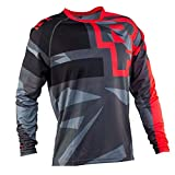 D-SYANA8 Camiseta de Bicicleta Moto Motocross MTB Jersey Ciclismo Manga Larga Deporte al Aire Libre para Gimnasio Entrenamiento Correr Unisex Red+Black L
