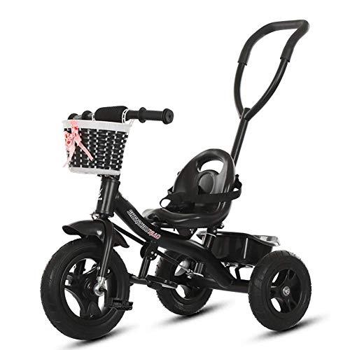 XHSLC Trikes- 2 in 1 Kids driewieler voor peuter, op Ride Bike met Push Handle Buggy Pram, Leeftijd 1-5 Jaar (zwart)