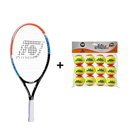 Topspin Tennis Kinderpaket Stage 2 (orange) - Kinderschläger + Tennisbälle