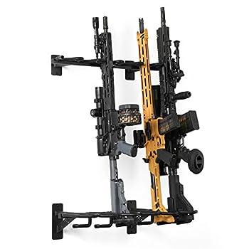 Savior Equipment Wall-Mount Rifle Rack Tactical Shotgun Carbine Firearm Free-Standing Gun Display Indoor Storage Rack - Heavy Duty Steel 6-Slot Holds up to 150 Lbs