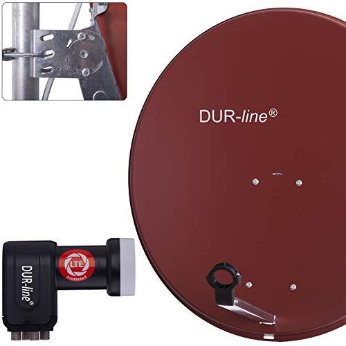 DUR-line MDA 80 Rot - Digiatale 4 Teilnehmer Satellitenschüssel Komplett-Anlage mit +Ultra Quad - LNB [Camping, Astra 19,2°, DVB-S/S2, Full HD, 4K, 3D]