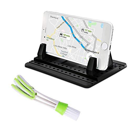 FineGood - Supporto universale per telefono cellulare con spazzola per bocchetta dell'aria, in silicone, per auto, antiscivolo