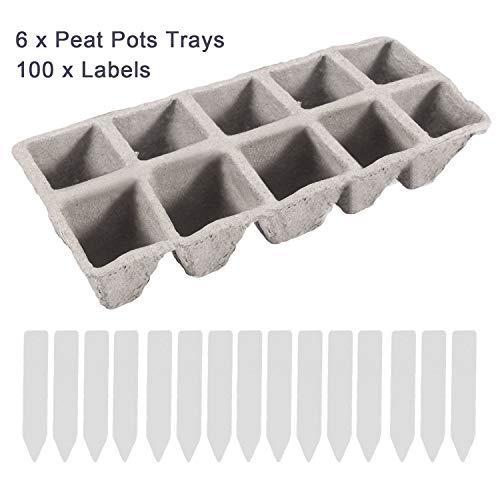 Gosear 6pcs pots de tourbe plateaux de démarrage de semences 60 cellules pots de semis biologiques biodégradables avec 100 pcs étiquettes pour plantes à fleurs végétales