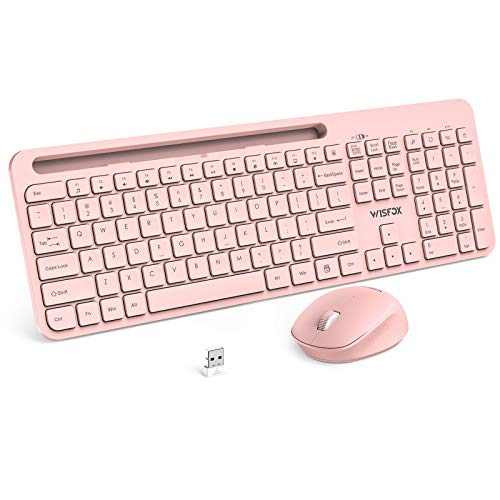 Wireless Keyboard and Mouse Combo, WisFox 2.4G USB Wireless Ergonomic with Phone Holder, Full-Size Keyboard and Mouse Set for Computer, Laptop and Desktop(Pink)