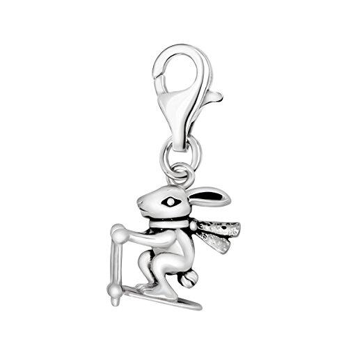 Quiges Charm Anhänger 3D Kaninchen Hase mit Ski und Schal 925 Silber mit Karabinerverschluss für Bettelarmband