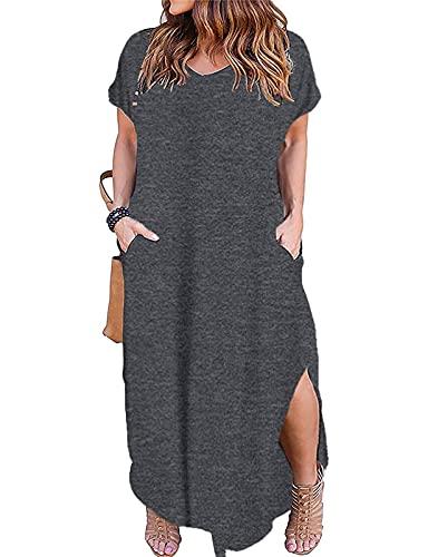 Kancystore Womens Plus Size V Neck Casual Maxi Dress Short Sleeve Pocket Tshirt Dress
