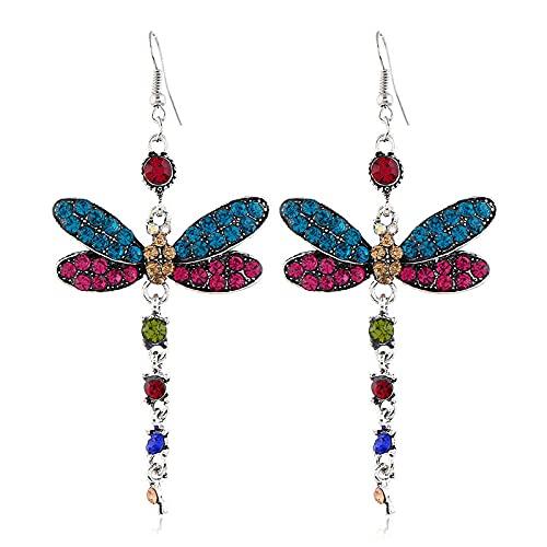 XAOQW Pendientes de Zirconia creativos Vintage, Pendientes de libélula Multicolor-Multi