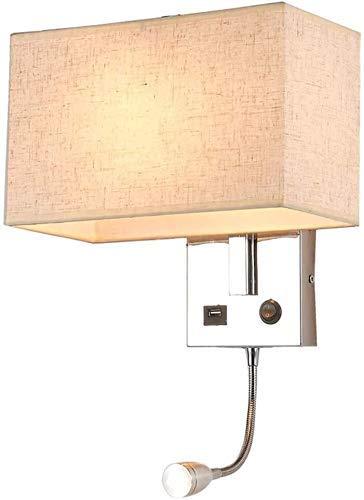 YANQING Duurzame wandlamp met schakelaar, met LED-leeslampje en USB-aansluiting, van metaal en stof lampenkappen, voor slaapkamers, nachtlamp, leeslamp A++