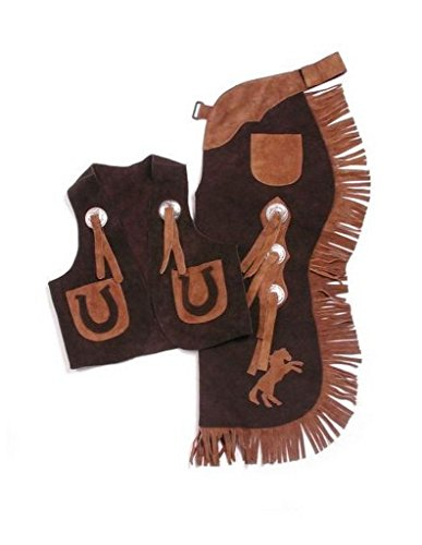 Tough-1 Kids Chap/Vest Set Horseshoes Brown Medium