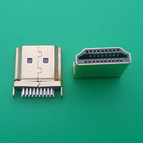 KONGZIR 2pcs HDMI HDMI 19 PIN Conector de la interfaz de enchufe masculino, 2 pines de fila 19pin (10pin 9pin) 1.6mm espaciado para equipos HDS HDMI Socket