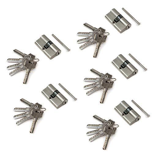 Emuca - Euro-Zylinder Sicherheitsschließzylinder für Türen, 30 x 30, einfache Kupplung, Schließzylinder mit 5 Sicherungsstiften, langem Nocken, 5 Schlüssel, satiniertem Nickel, 5 Stück