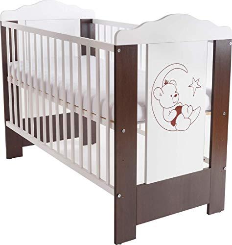 Niuxen CV-03 Baby Bett Kinderbett 120x60 höhenverstellbar Schlupfsprossen (mit Matratze) Motiv Mond Bär