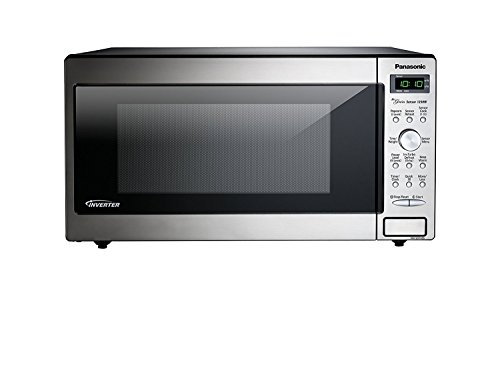 Microwave Oven Compact Countertop Panasonic Electric 1250 Watt 1.6 cu. ft. Inverter Cookware With Free Pot Holders