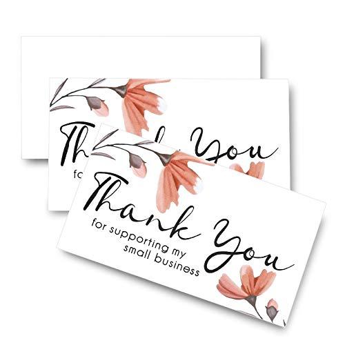 SAVITA 100 Stück Thank You for Supporting My Small Business Karte, Kleine Dankeskarten für Online-, Einzelhandels- und Geschenkartikel-Packungsbeilagen (9 x 5 cm)
