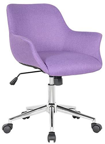 SixBros. Bürostuhl, Schreibtischstuhl zum Drehen, Drehstuhl für's Büro oder Home-Office, stufenlos höhenverstellbar, modernes Design, lila M-65216/8406