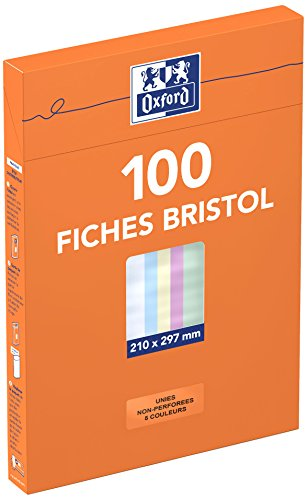 Oxford 100104411 Etui de 100 Fiches bristol non perforées A4 uni Couleurs Assorties