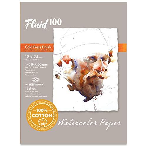 Fluid 100 Watercolor Paper 811236 140LB 100% Cotton Cold Press 18 x 24 Block, 15 Sheets
