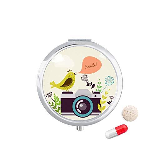 DIYthinker Illustratie Vogel Groeten Op Camera Reizen Pocket Pill Case Medicine Drug Opbergdoos Dispenser Spiegel Gift