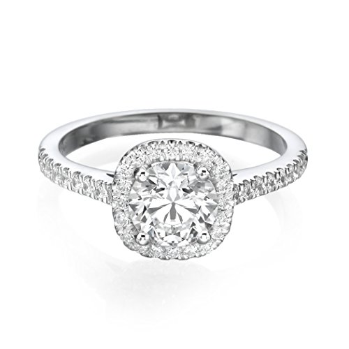1 CT Solitaire with Accents Diamond Engagement Ring Round Cut Main Stone with Accents H/SI1 (Clarity Enhanced) 14ct…